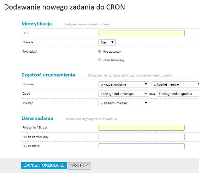 Dodawanie nowego zadania do CRON