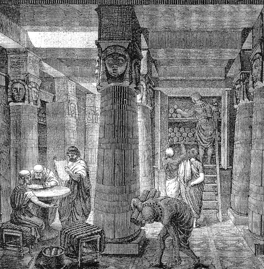 """O. Von Corven """"The Great Library of Alexandria"""" z Wikimedia Commons"""