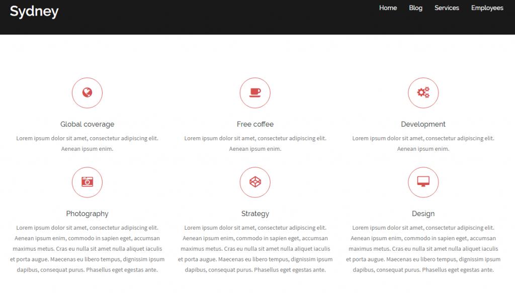 Widok ekranu - Sydney Theme ikony - Szablony WordPress