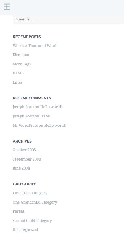 Widok ekranu - Nulis lista - Szablony WordPress