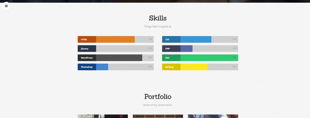 Szablony WordPress - Widok ekranu - Latte theme paski postępu