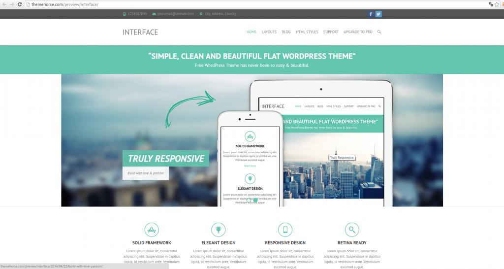 Widok ekranu - Interface Theme - Szablony WordPress