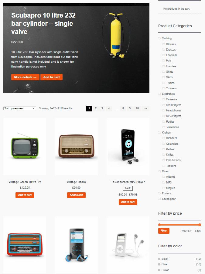 Widok ekranu - StoreFront produkty - Szablony WordPress