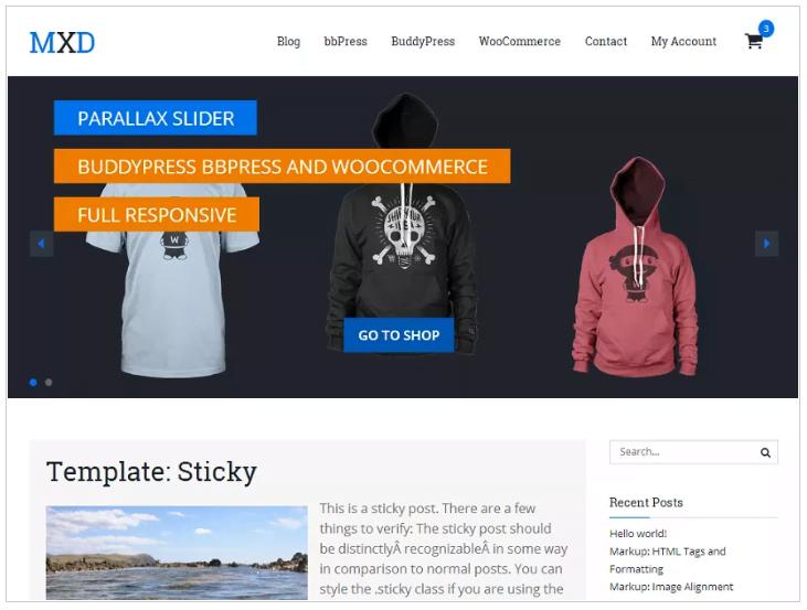 Widok ekranu - Mixed theme - Szablony WordPress
