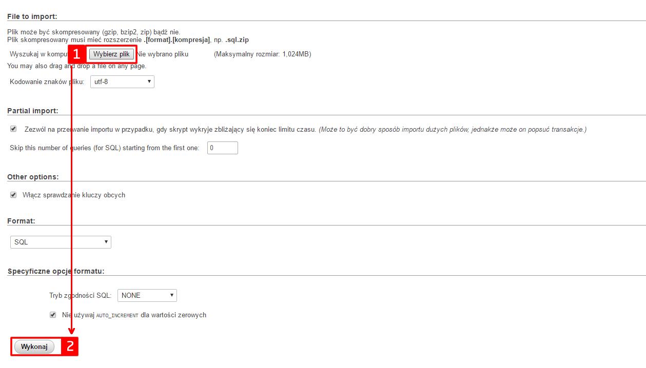 Wordpress, migracja - import bazy danych