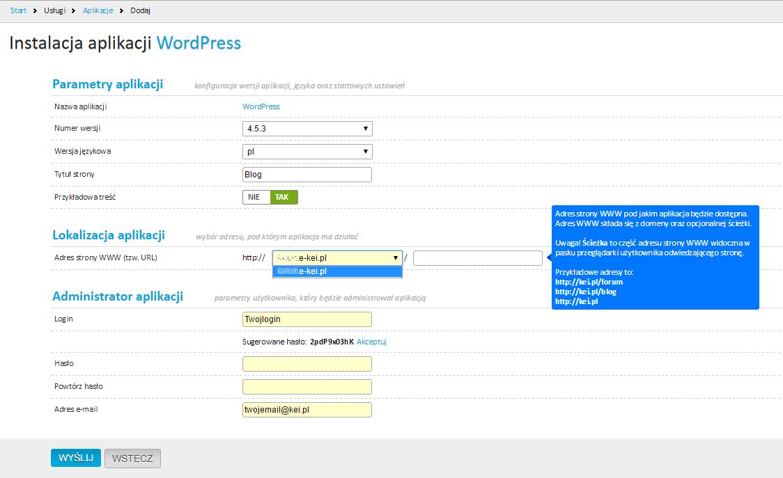 Wordpress, migracja - instalacja