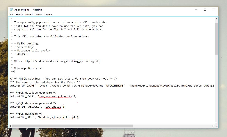 Wordpress, migracja - edycja wp-config.php