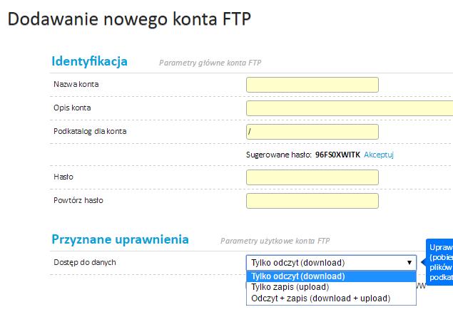 Parametry hostingu - konta ftp