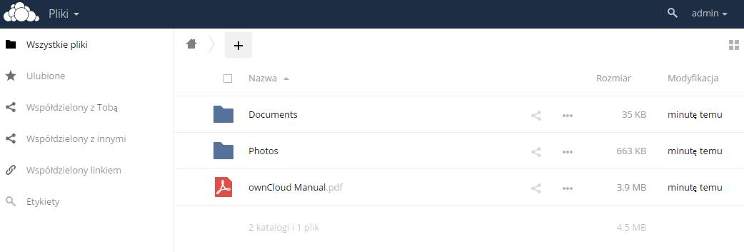 owncloud1 wygląd aplikacji