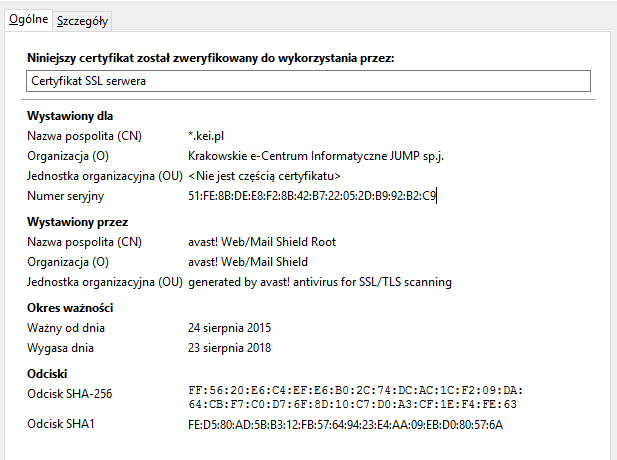 Certyfikaty SSL - certyfikat OV