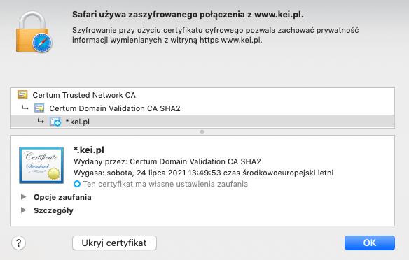 Szczegóły certyfikatu SSL DV