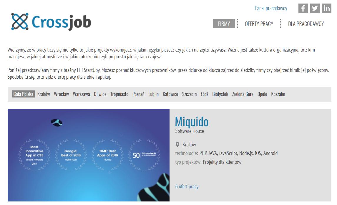 Crossjob - portal Crossweb dotyczący ofert pracy