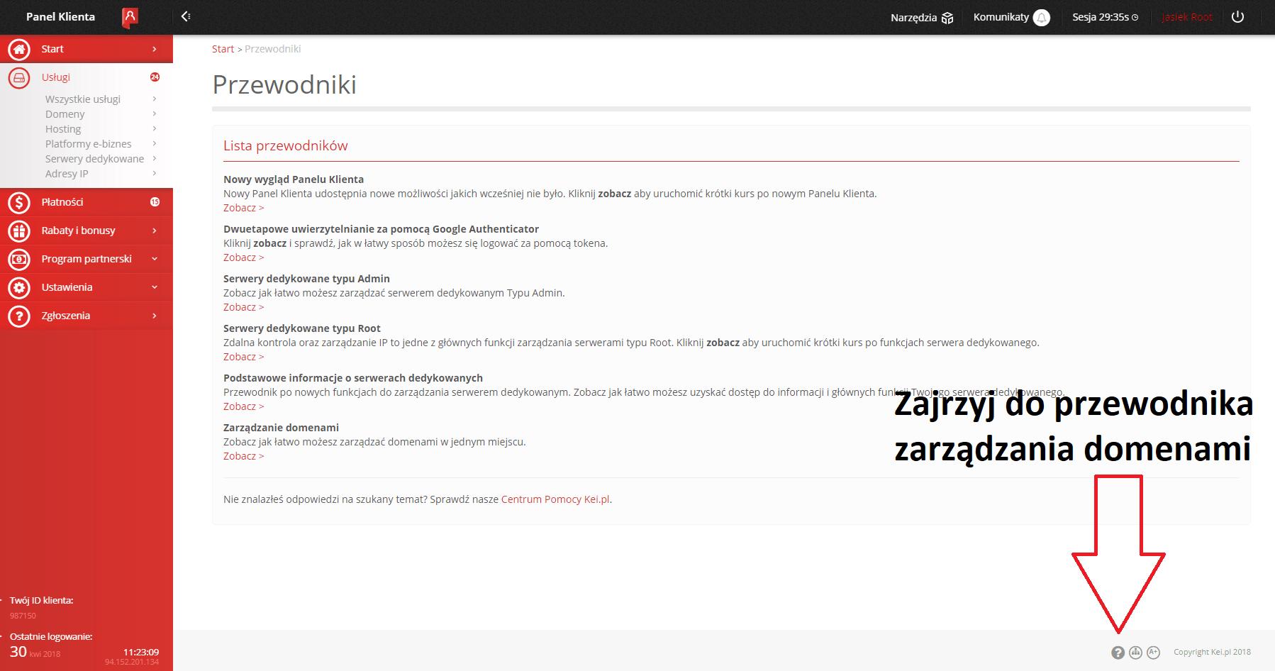 Przewodnik zarządzania domenami w panelu Kei.pl