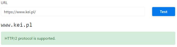 wynik narzędzia do testowania stron na http2 dla kei.pl