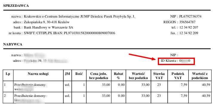 Numer ID na fakturze VAT