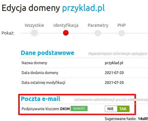 Włączenie DKIM dla domeny w panelu WebAs
